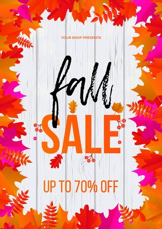 Fall sale poster or web banner template for September shopping promo or 70 percent shop discount. Illustration