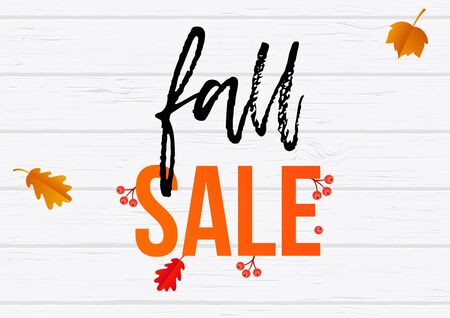 Fall sale poster or web banner template for September shopping discount promo. Vector rowanberry, maple or oak rowan leaf foliage pattern on wooden fence background.