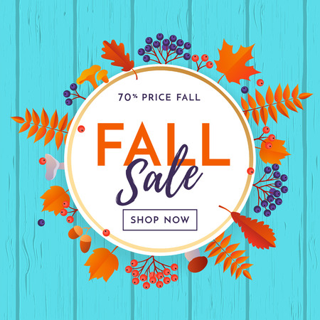 Fall sale leaf pattern background of autumnal maple, oak or rowan leaf for autumn shopping discount promo vector web banner or poster.
