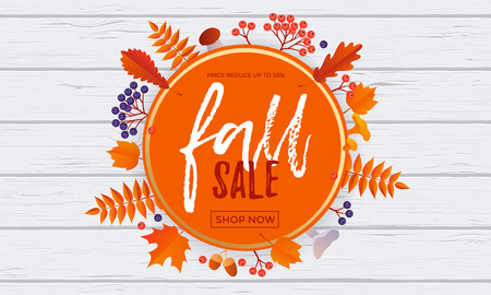 rowanberry: Fall sale leaf pattern background of autumnal maple, oak or rowan leaf for autumn shopping discount or shop promo.    Vector golden calligraphy font Fall Sale design in orange circle on white background Illustration