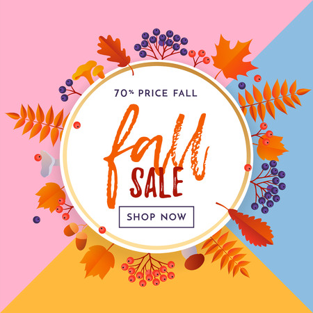 Fall sale banner with gold discount text for autumn shopping promo or autumnal shop design. Vector maple and oak acorn leaf foliage fall, mushroom and berry background. Illustration