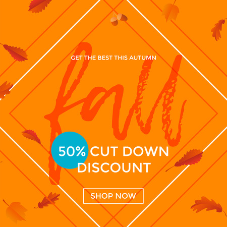 Fall sale poster discount text for autum fall shopping promo or autumnal shop design. Vector maple and oak acorn leaf foliage, mushroom and berry background for leaflet or sale web banner Illustration