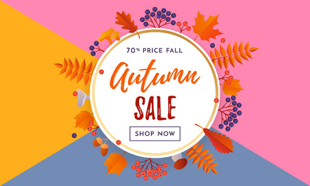 Autumn sale text poster template for September shopping promo or 70percent autumnal shop discount. Vector maple and oak acorn leaf foliage background for discount design of leaflet or web banner