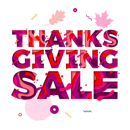 Thanksgiving sale paper cut font text for autumn holiday discount promo shopping banner or poster design on maple, oak or rowan leaf pattern background. Illustration