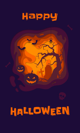 Happy Halloween banner of pumpkin on graveyard. Vector orange horror trick or treat Halloween holiday greeting card of full moon dark night tombstone, zombie skeleton skull and black bat paper carving Illustration