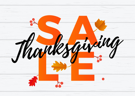 Thanksgiving sale banner, autumn or fall discount text for autumn shopping promo or autumnal shop design. Vector maple and oak acorn leaf foliage fall for thanksgiving leaflet or sale web poster