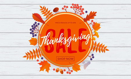 Thanksgiving fall sale banner discount text for autumn shopping promo or autumnal shop design. Vector maple and oak acorn leaf foliage background for Thanksgiving leaflet or sale web poster Illustration