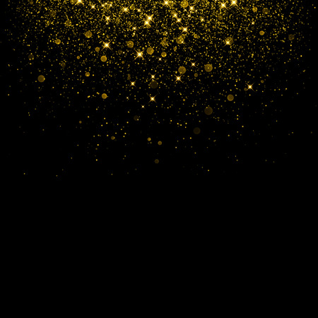 Gold glitter background with sparkle shine confetti. Vector glittering black background. Golden shimmer texture for luxury backdrop design. Ilustração