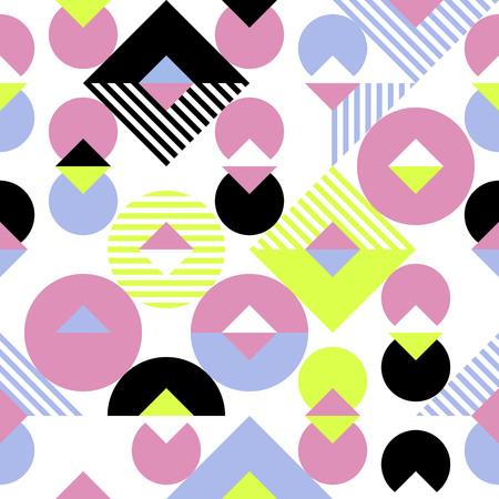 Geometrische abstracte patroonachtergrond van naadloze vierkanten, cirkels en het patroon van het de mozaïekmonster van de ruitdriehoek.