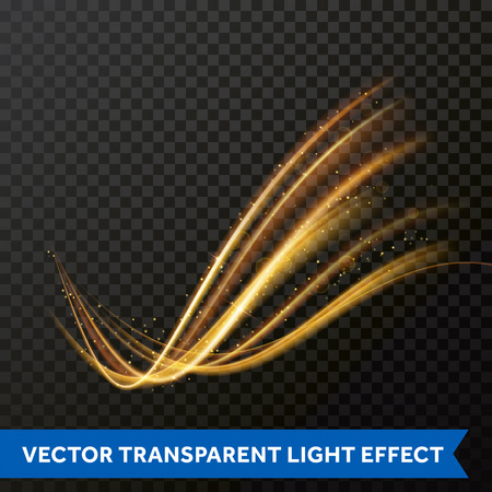 Light line gold swirl effect. Magic sparkle swirl trail effect on transparent background. Bokeh light glitter round wave line with sparkling particles. Vector glitter light fire flare trace Illustration