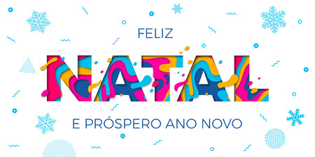 Feliz Natal Merry Christmas Portuguese greeting card, Ano Novo or Happy New Year wish poster. Vector paper cut multi color layers carving and winter holiday snowflakes pattern white background Vektorové ilustrace