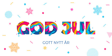 God Jul Merry Christmas and Gott Nytt Ar Happy New Year Swedish holiday greeting card white background. Winter snowflakes pattern on vector paper cut multi color layers text carving poster