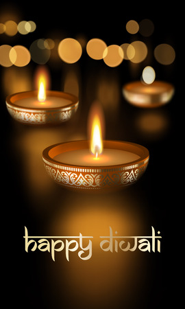 Happy Diwali Hindu festival of lights holiday greeting card template with Indian Diwali Sanskrit lettering text ornament. Vector gold candle light flame with golden blur premium effect background