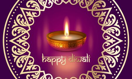 Happy Diwali Indian lights festival holiday traditional greeting card design of candle light flame lamp in golden bowl, Hindu ornament and Diwali Sanskrit text lettering on purple vector background Illustration