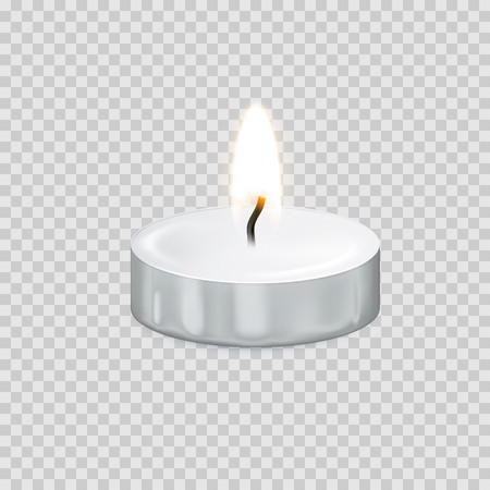 Candle light or candlelight flame isolated 3D icon on transparent background. Vector tealight or burning candlelight for Happy Diwali festival, birthday greeting card design or wedding decoration