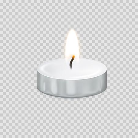 Kerzenlicht oder Kerzenlichtflamme lokalisierten Ikone 3D auf transparentem Hintergrund. Vector Teelicht oder brennendes Kerzenlicht für glückliches Diwali-Festival, Geburtstagsgrußkartendesign oder Hochzeitsdekoration