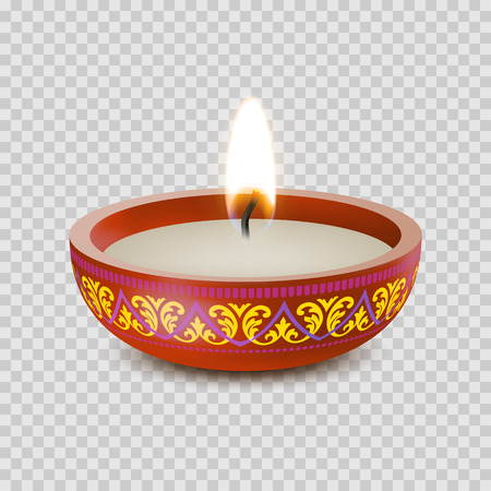Candle light or tea light flame in ornament bowl. Vector isolated 3D icon of tealight or burning candlelight for Diwali festival, birthday greeting or wedding decoration on transparent background
