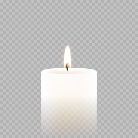 Candle light or tea light flame isolated 3D icon on transparent background. Vector burning candle for Diwali festival, birthday or Christmas and New Year greeting card design or wedding decoration 矢量图像