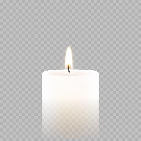 La luz de la vela o la llama ligera del té aisló el icono 3D en fondo transparente. Vela ardiente del vector para el festival de Diwali, el cumpleaños o el diseño de la tarjeta de felicitación de Navidad y del Año Nuevo o la decoración de la boda