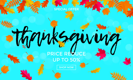 Thanksgiving sale calligraphy text poster or autumn promo 50 percent discount web banner for autumnal shopping background template. Vector maple, oak or rowan leaf falling for Thanksgiving sale design