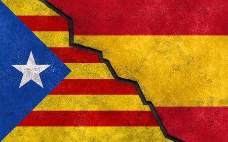 politic: Catalonia Independence referendum from Spain political concept exit or break Spanish and Catalan flag symbol design. Vector Cataluna y Espana independencia bandera national independence sign
