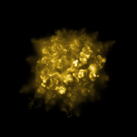 bright: Gold glitter cloud on black background. Golden smoke texture with glittering sparkle star dust particle isolated on black. Luxury powder explosion illustration for premium design.