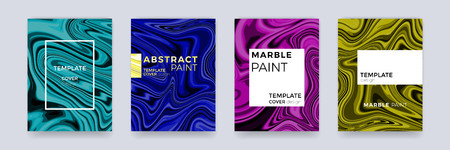 Brochure template set with marble background or marbling texture cover backdrop for banner, poster or magazine design. Vector abstract creative background with liquid watercolor color splash Vectores