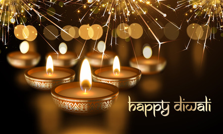 Happy Diwali Indian lights festival holiday greeting card template. Hindu Diwali Sanskrit lettering text ornament. Vector gold candle light flame with golden blur premium effect background