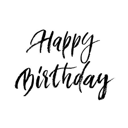 幸せな誕生日グリーティング カード書道手には、白い背景にレタリング ベクトル ペイント ブラシ フォントが描画されます。お祝いギフトお祝いの