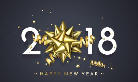 2018 New Year golden gift ribbon bow and gold glittering stars confetti glitter decoration on premium black background.