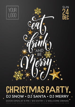 Christmas party invitation poster template of golden New Year decoration, Christmas tree of gold glitter star and snowflakes on premium black background. Vector calligraphy text for winter holiday