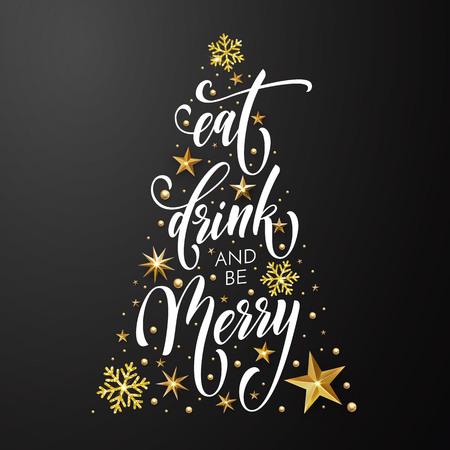 Biglietto di auguri di Natale Mangia, bevi e sii allegro modello di design di decorazione dorata di Capodanno e glitter oro albero di Natale di stelle e fiocchi di neve su sfondo nero premium. Calligrafia vettoriale Archivio Fotografico - 88086301