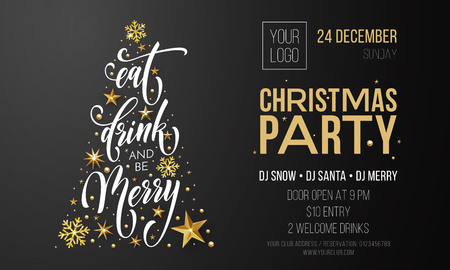 Christmas party invitation poster or welcome banner template christmas party invitation poster or welcome banner template of golden christmas tree vector new year maxwellsz