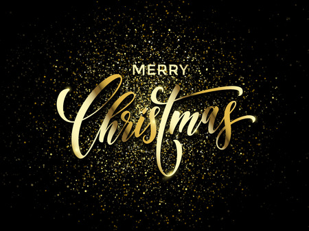 Merry Christmas wish greeting card of gold glitter confetti or sparkling fireworks on premium luxury black background. Vector golden calligraphy lettering design for New Year or Christmas holiday Illustration