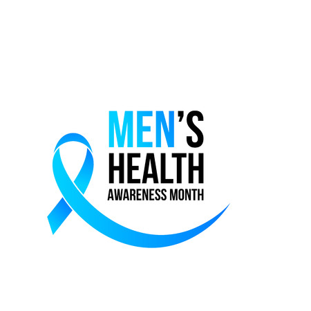 Movember or November men health awareness month poster or banner of blue ribbon. Vector no shave symbol for social solidarity event against man Movember healthcare prostate cancer campaign