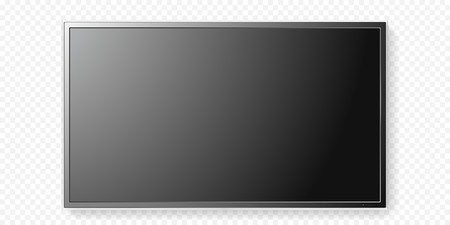 Black LCD tv screen isolated on transparent background. Illustration