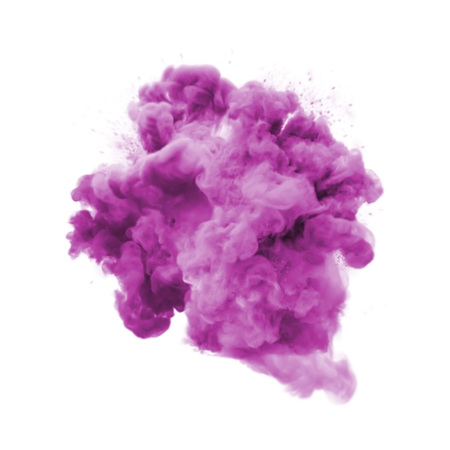 Paint powder explosion or abstract color splash of pink purple particles burst isolated on white background. Abstract color glitter explode with glowing shimmer texture effect for cosmetic background Stock Photo