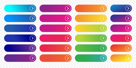 Web knoppen platte ontwerpsjabloon met kleurverloop en dunne lijn kaderstijl. Vector geïsoleerde rechthoekige afgeronde webpagina volgende pijl knopelementen instellen op transparante achtergrond