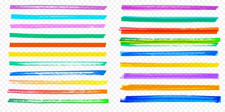 Highlight brush stroke set. Vector color marker pen lines. Yellow, red, orange, green, blue and purple underline hand drawn highlight strokes on transparent background