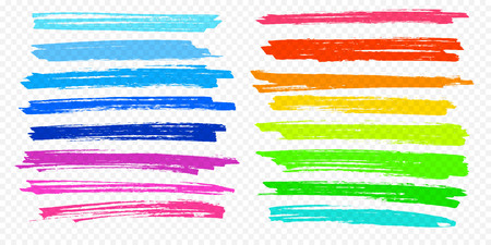 Highlight brush underline hand drawn strokes set. Vector marker or color pen lines in yellow, red, orange, green, blue highlighter strokes on transparent background