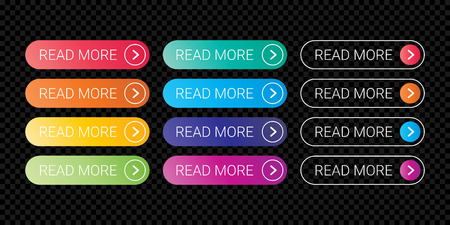 Read More web button flat design template with color gradient style. Vector web page button element isolated internet site page thin line outline modern button icons set on transparent background