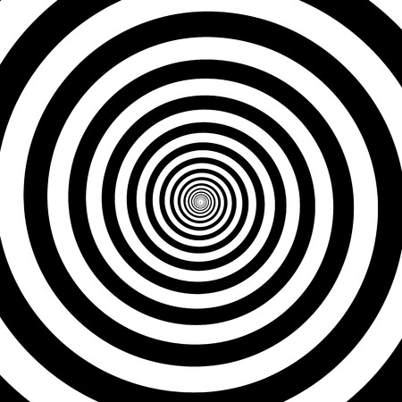 Hypnotic circles abstract vector optical illusion spiral swirl. Hypnotize circular pattern background of black and white rotating circles or psychedelic hypnosis lines in hypnotic motion
