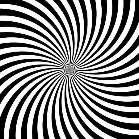 Hypnotische Strudellinien oder Wirbel drehen sich oder schwarze und weiße Kreisbewegungsrotationen. Vector Musterhintergrund der optischen Täuschung der gewundenen drehenden psychedelischen Hypnoselinien in der hypnotischen Bewegung