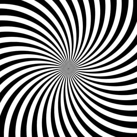Hypnotic swirl lines or vortex spin or black and white circular motion twirls. Vector optical illusion pattern background of spiral rotating psychedelic hypnosis lines in hypnotic motion