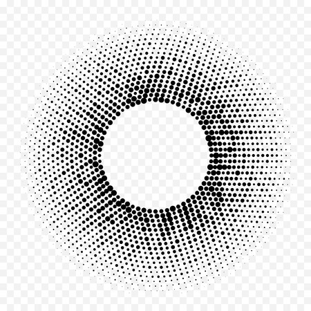 Halftone circle geometric radial dot pattern. Vector abstract background of white black halftone mosaic circle. Minimal gradient design of simple trendy graphic texture for technology background