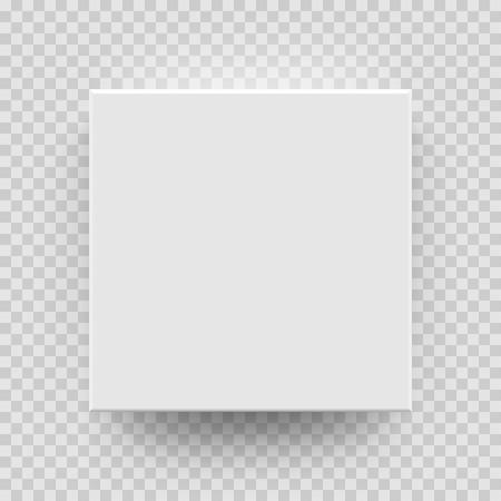 Cuadro blanco maqueta modelo 3D vista superior con sombra. Vector aislado en blanco de cartón abierto o en papel blanco matchbook contenedor caja paquete plantilla sobre fondo transparente