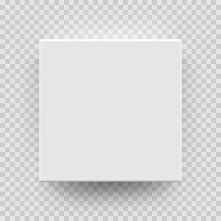 Witte doos mock-up model 3D bovenaanzicht met schaduw. Vector geïsoleerde lege kartonnen open of Witboek matchbook container vak pakket sjabloon op transparante achtergrond