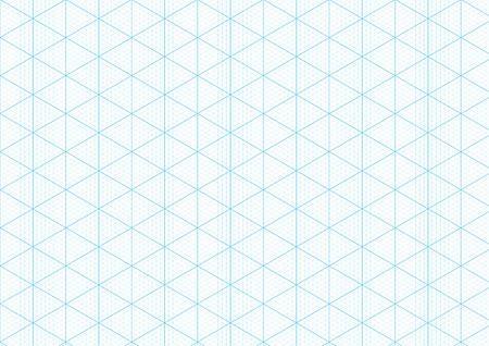 Fondo de papel gráfico isométrico con la trama triangular y hexagonal guía de regla textura de cuadrícula para ingeniería o diseño mecánico de dibujo. Fondo de plantilla de papel de gráfico A4 de Vector Ilustración de vector