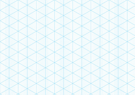 Isometric graph paper background with plotting triangular and hexagonal ruler guide line grid texture for engineering or mechanical layout drawing. Vector A4 graph paper template background Stock Illustratie