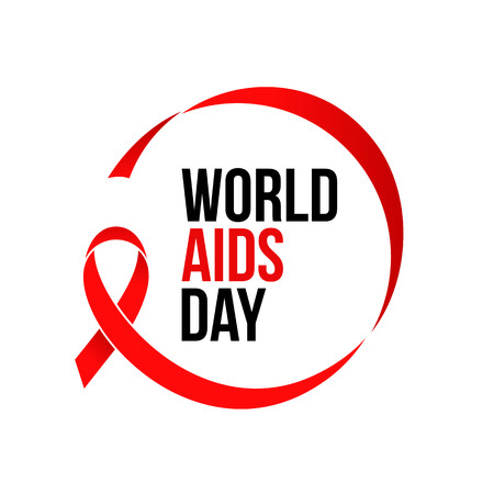 World AIDS day red ribbon icon logo for 1 December HIV and AIDS awareness banner or poster. Vector red ribbon symbol or emblem badge on white background